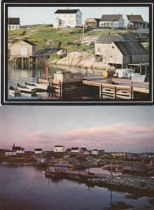 (2 cards) Granite Playground and Sunset - Peggys Cove NS, Nova Scotia, Canada