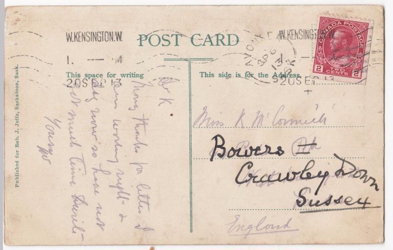 Canada; University of Saskatchewan, Saskatoon PPC, 1913 PMK to GB, Redirected