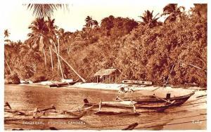 Zanzibar Native Fishing Canoes Beach Real Photo Postcard