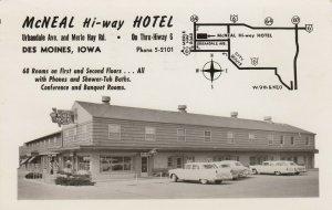 RR: DES MOINES , Iowa , 1956 ; McNEAL Hi-Way Hotel , map