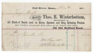 1873 Bhd. THOS. H.  WINTERBOTTOM, Mfg. of Bands Used on Mules, Fall River, MA