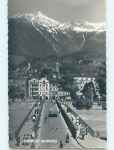 old rppc BRIDGE IN FRONT OF BUILDINGS Innsbruck Austria HM1550