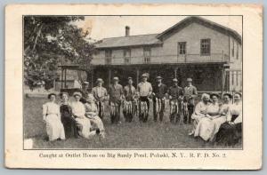 Pulaski NY~Big Sandy Pond~Outlet House Hotel~Fishermen w/ Stringers~Ladies~1912
