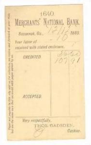 Merchant's Nat'l Bank,Account Notice,Savannah,Georgia,1883