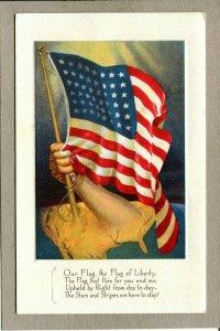 Postcard Patriotic United States Flag of Liberty Stars & Stripes Embossed 1215C