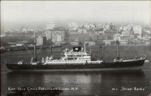 Steamship Ship Kon. Java China Paketvaart Lijnen NV MS Straat Bank RPPC