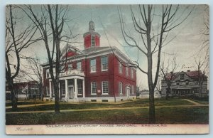 Postcard MD Easton Maryland Talbot County Courthouse Jail 1907 Handcolored AC16