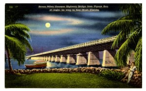 FL - Pigeon Key. Seven Miles Oversea Hwy to Key West by Moonlight