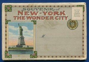 New York the Wonder City Skyline postcard folder