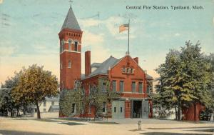 Ypsilanti MI~The Central Fire Station Door Is Open~Tower Missing Louvre~c1914