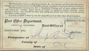 USPS Registry Bill Sheep Ranch California 1884