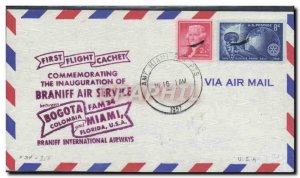 Letter USA 1st flight Braniff Bogoto Miami May 26, 1957