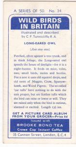 Trade Card Brooke Bond Tea Wild Birds in Britain 34 Long-Eared Owl