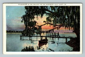 MS-Mississippi, Silhouettes in Twilight on the Gulf Coast, WWII Linen Postcard