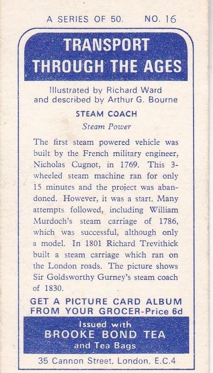 Trade Cards Brooke Bond Tea Transport Through The Ages No 16 Steam Coach