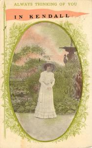 Always Thinking of You in Kendall Wisconsin~Victorian Lady~1913 Postcard