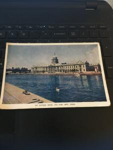 Vintage Postcard; The Customs House and River Liffey, Dublin