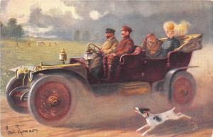 B94128 dog chasing car  voiture painting postcard uk