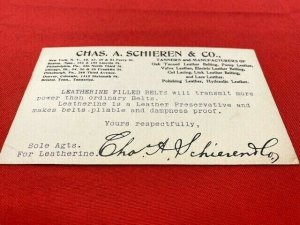 Postcard 1902 CHAS. SCHIEREN & Co Tanners to National Spring Bed Co, Leatherine