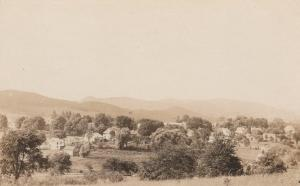 RPPC Birdseye View of Small Town - Perhaps in Vermont
