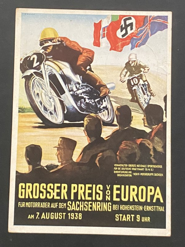 1938 Hohenstein Germany Propaganda Postcard cover Motorcycle Grand Prix race
