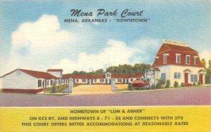 MENA PARK COURT Mena, Arkansas Roadside Hotel ca 1940s Vintage Linen Postcard