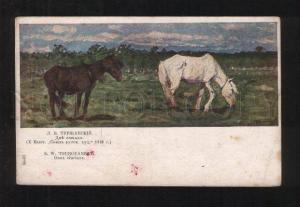 076546 Two HORSES on Field by TURZHANSKY vintage Color PC
