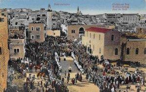 Christmas Day Birdseye View Bethlehem Palestine 1910c postcard