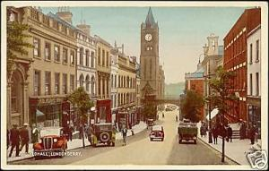 northern ireland, LONDONDERRY, Guildhall, Cars (1940s)
