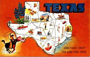 Texas Greetings With Map From The Lone Star State