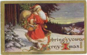 D/B A Walking Santa Claus 'I brings you a Merry Christmas!'