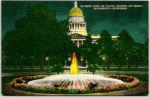 1940s Sacramento California Postcard West View of State Capitol at Night Linen