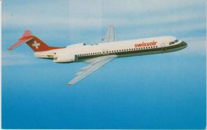 SwissAir Fokker 100 Airplane in Flight, 1980s