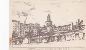 MIAMI BEACH, Florida, 1934; CABANAS, ocean view. Roney Plaza Hotel