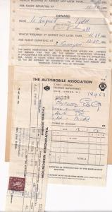 AA Automobile Association 1955 Silver Ferry Car Park 2x Receipts