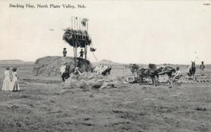 NORTH PLATTE VALLEY, Nebraska, 1900-10s ; Stacking Hay
