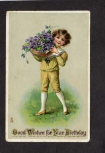 Good Wishes Birthday Greetings Postcard Boy Basket Violets Raphael Tuck & Sons