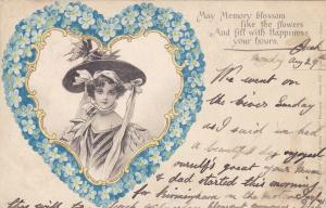 TUCK #846; Heart shaped frame, Forget-Me-Not flowers, Woman wearing hat, PU-1904