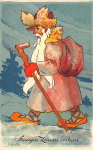 Brown Suited Santa Claus Christmas Walking Stick Orange Shoes Postcard