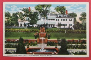 Residence Of Percy V. Hill, Looking East, Augusta ME Postcard (#2246)