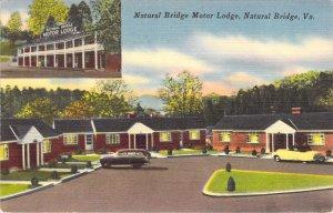 Natural Bridge Motor Lodge on US 11 Virginia VA 1953 Old Cars Linen Postcard