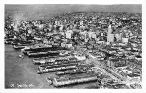 RPPC SEATTLE, WA Aerial View of City c1940s Vintage Postcard