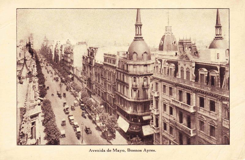 View of Avenida de Mayo, Buenos Aires, Lamport & Holt Vintage Photo Postcard F17