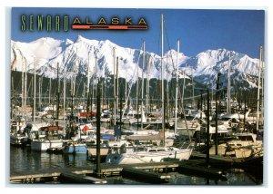 Postcard Seward, Alaska AK view of Boat Harbor and Snow on Kenai Mts ACE1619