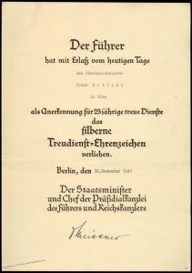 3rd Reich 25Yr Service Medal Award Otto Meissner Autograf Chef Praesidialk 81777