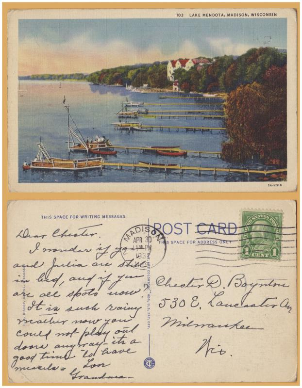 Madison, WIS., Lake Mendota, Piers and boats - 1937