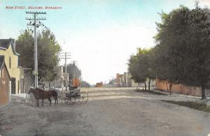 Welcome Minnesota~Main Street~Horse & Buggy~Stores~Dirt Road~1909 Handcolored
