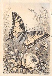 Butterflies Post Card, Butterfly Postcard Butterfly and Flower Trade Card,  N...
