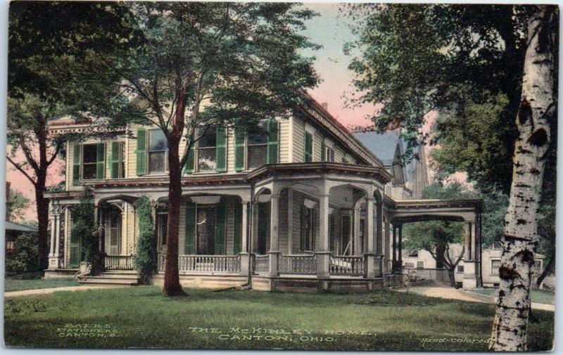 Canton, Ohio Postcard The McKinley Home Hand-Colored Albertype c1910s UNUSED