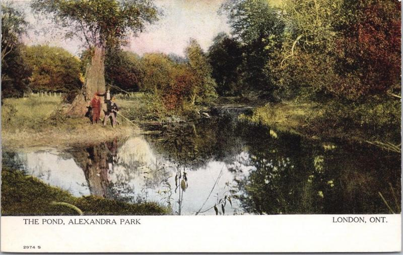 London Ontario ON The Pond Alexandra Park Unused Postcard D69